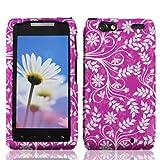 LF 3 in 1 Bundle Accessory - Designer Hard Case Cover, Lfstylus Pen & LF Screen Wiper For (Verizon) Motorola Droid Razr Maxx XT912M XT913 XT916 (Purple Flower)