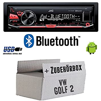 VW Golf 2 II - JVC KD x330bt - Bluetooth MP3 USB Radio voiture - Kit de montage
