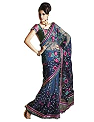 Anvi Creations Net Crepe Blue Embroidered Indian Saree (Blue_Free Size)