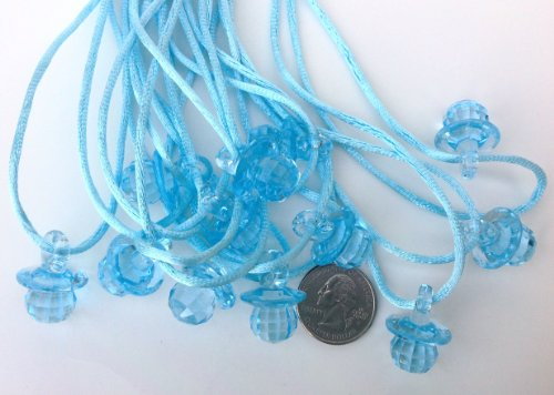 "24 Pcs 1"" Mini Blue Fancy Plastic Pacifier Necklaces ""Don'T Say Baby!"" For Baby Shower Party Game/ Favors front-524667"