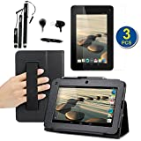 BIRUGEAR SlimBook Leather HandStrap Stand Case with Screen Protector, Stylus, Headset for Acer Iconia B1-710 - 7 inch Android Tablet