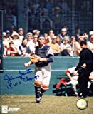 """Jerry Grote (1969 NY Mets) Autographed/ Original Signed 8x10 Color Action-photo Showing Him with the New York Mets & """"69 W.S. Champs"""" Inscription"""
