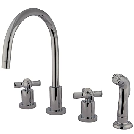 KINGSTON BRASS KS8721ZX Millennium Widespread Kitchen Faucet with ABS Sprayer, Polished Chrome