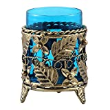 Giftgulley Handicrafted Iron And Glass Candle Stand With Blue Glass 10cmX10cmX14cm