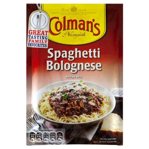 Spaghetti bolognaise Recette de Colman Mélanger 12 x 44gm