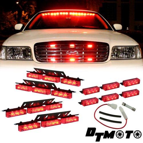 Red 36X Led Firefighter Personal Vehicle Dash Deck Grille Strobe Warning Light - 1 Set