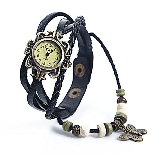 Dayan Butterfly Charm Women Ladies Weave Wrap Around Leather Belt Bracelet Watch Black