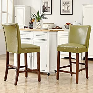 Amazon Com Estonia Olive Green Upholstered Counter Stool