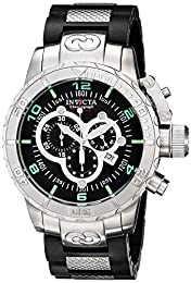 Invicta Corduba Men's Quartz Watch with Black Dial  Chronograph display on Black Plastic Strap 6674