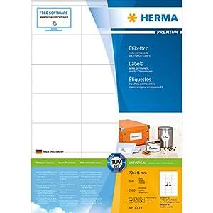 Herma 4473 Etiketten (Premium Papier matt, 70 x 41 mm) 2100 Stück weiß