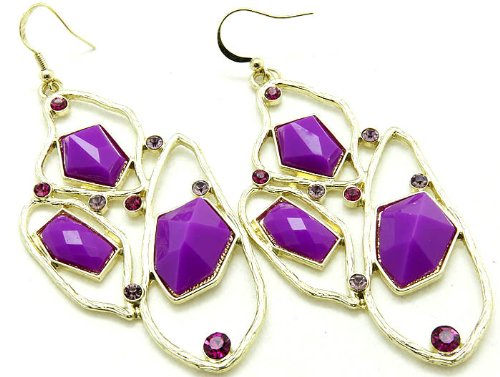 EARRING FISH HOOP LUCITE BEAD PURPLE Fashion Jewelry Costume Jewelry fashion accessory Beautiful Charms