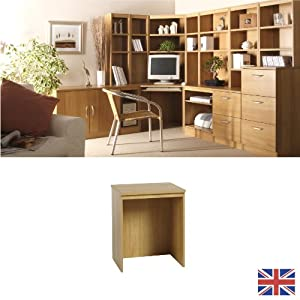 Desk on Desk Link   Warm Oak   Cable Port   Wood Effect    We Also Make