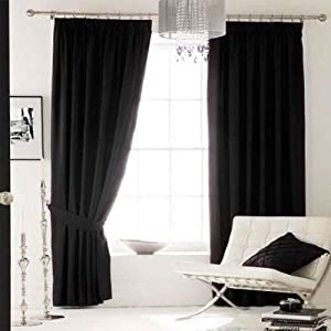Superb Quality 66x108 Black Faux Silk Pencil Pleat Fully Lined Curtains *tur* from Curtains
