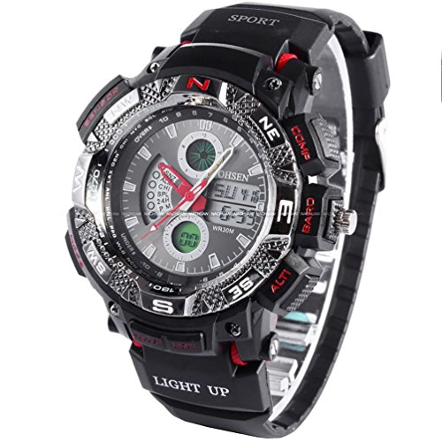 Gute Skiing Series Ohsen Sport Watch Dual Time Display Lcd Analog Outdoor Wristwatch