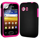 Gadget Giant Samsung Galaxy Y S5360 Dual Layer 2 in 1 Protection Hybrid Silicone Case Cover Skin & Screen Protector And Polishing Cloth Bundle (Pink & Black)