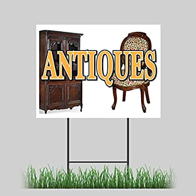 "18""x24"" Antiques Yard Sign Furniture Collectibles Coin Dealer Antique Shop Sign"