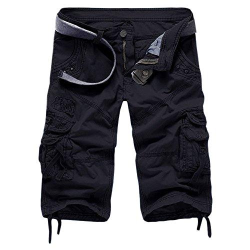 Minetom Pocket Hobo Release Pantaloni da Jogging da Uomo sportivi Casual Sarouel danza Shorts in esecuzione ( Nero 4 , IT 40 Girovita 78-82cm )