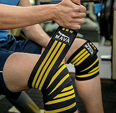 """Mava Sports Knee Wraps (Pair) with Velcro for Cross Training WODs,Gym Workout,Weightlifting,Fitness & Powerlifting - Best Knee Straps for Squats - For Men & Women- 72""""-Compression & Elastic Support"""