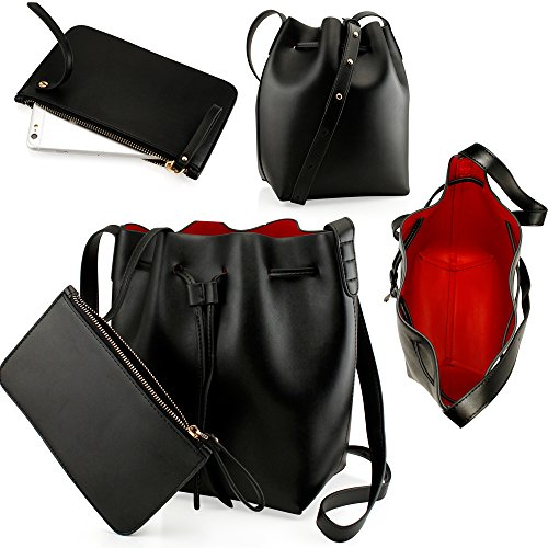 Oct17-Black-Women-Fashion-Handbag-Faux-Leather-Bucket-Bag-Tote-Shoulder-Retro-Crossbody-Purse-small-pouch