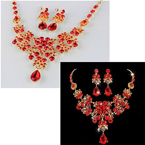 Dxhycc Silver Red Alloy Rhinestone Earrings Crystal ...