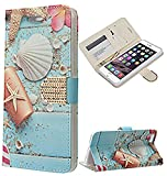 Apple iPhone 6 / 6s Beach Shell Design Flap Pouch Luxury Magnetic Wallet Case + Free Stylus Pen + Free Alloy Beer Bottle Opener Dolphin Keychain