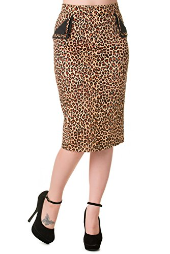 Banned-Tori-Vintage-Leopard-Print-Black-or-Red-Pencil-Skirt