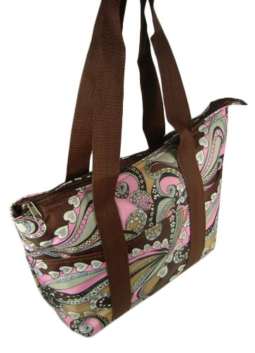 8429e62ae4 Womens Thermal Insulated Lunch Bag Tote (Brown   Pink