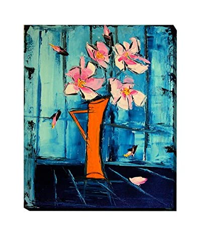"Atelier De Jiel ""Flowers On Blue Background"" Weather-Resistant Canvas Print"