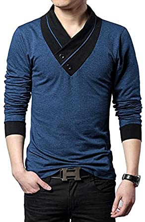 "Seven Rocks Men's V-Neck Cotton Tshirt ""Unique Neck Navy Melange"" (Small)"