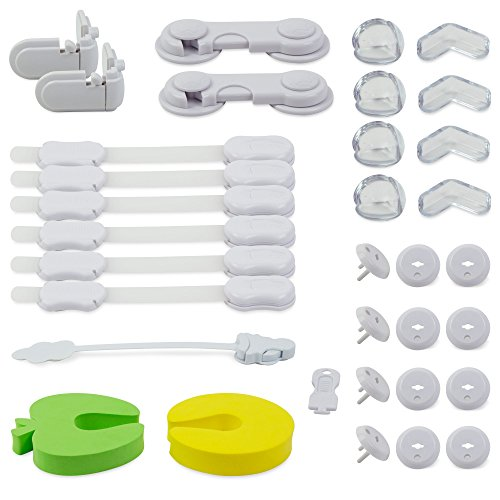 Baby safety set - 33 pcs - Children complete set incl. drawer protection / cabinet lock, safety plugs, cabinet protection, corner protection and much more. More safety for your child - My1St