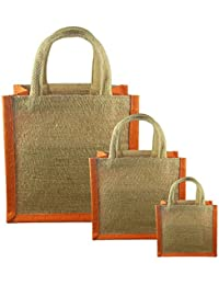 JO'S Jute Bag For Grocery,Shopping,Lunch Bag,Gift Bag ,Multi Purpose Bag (Small,Medium & Large) (Orange)
