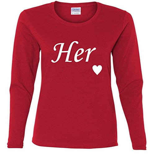 Valentine's Day Her Heart Love Ladies Missy Fit long sleeve T-Shirt