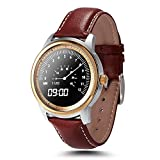 LEMFO LEM1 Bluetooth Smart Watch - Waterproof Leather Strap Full HD IPS Screen Fitness Tracker For IOS Android Smartphone (Gold)