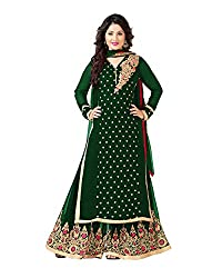 VIHA Green Embroidered Pure Georgette Plazzo Suit