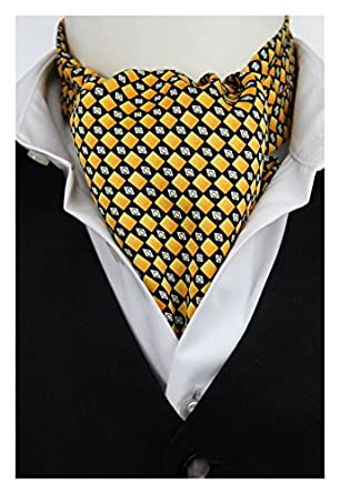 Gold Black Squares Casual Cravat