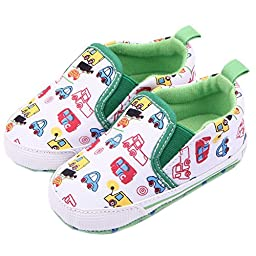 Femizee Infant Newborn Baby Boy Girl Soft Anti-Slip Crib Shoes Sneakers White Car 9-12 Months