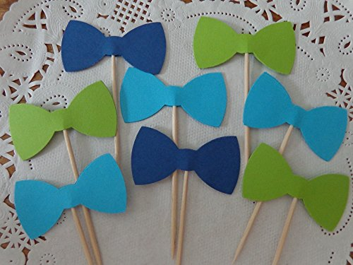 Navy Blue Lime Green and Aqua Blue Bow Tie Cupcake Toppers - Food Picks - Party Picks - Baby Shower Toppers - Bowtie Toppers (Set of 24) (Lil Mustache Baby compare prices)