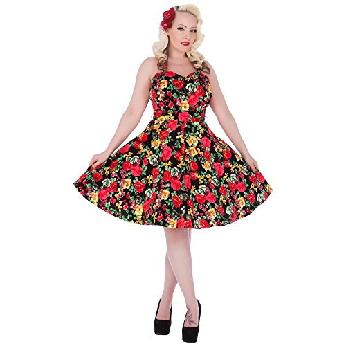 Dolly and Dotty -  Vestito  - Donna Schwarz mit Rosenmuster 40
