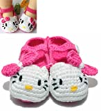 Baby Girl Boy Crochet Knit Cat Flower Sandals with Bows Toddler First Walker Shoes 6-12 Months+Free Gift,Lace Doilies,Random Colors