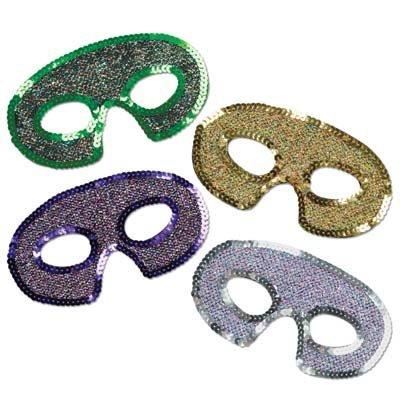 Mardi Gras Sequin-Lamé Half Masks Pkg/12