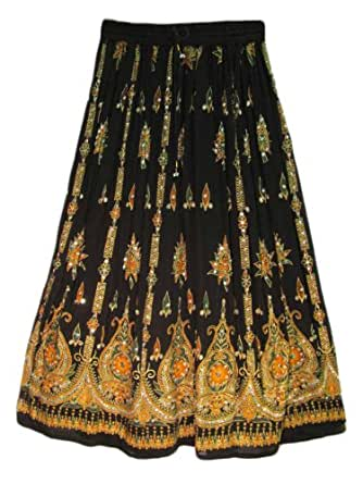 womens indian sequin crinkle broomstick skirt
