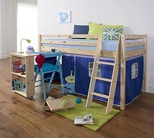 Mid Sleeper Wooden Pine Bunk Bed, Cabin bed+ Desk BLUE