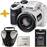 "Bundle Fuji S4800 White Digital Camera +Case +Samsung 16GB +NiMh Batteries & Charger (Fujifilm Finepix S4800HD 16MP 3"" LCD 30x Super Zoom Bridge Camera)"
