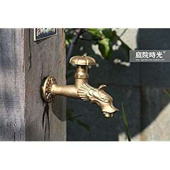 "Greenspring Dragon Decorative Antique Brass Garden Outdoor Faucet - With a Set of Brass Quick Connecter for 1/2"" Inches Hose"