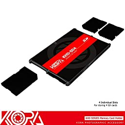 Kora KHD-SD4 Credit Card Size Durable Lightweight Portable Memory Card Case Holder Protector With Writable Label For 4 SD Cards