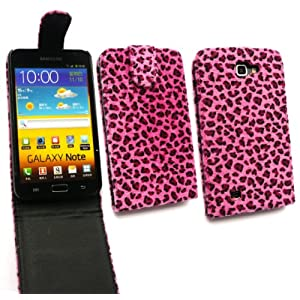 FLASH SUPERSTORE SAMSUNG GALAXY NOTE N7000 FURRY LEOPARD HOT PINK FLIP CASE/COVER/POUCH AND LCD SCREEN PROTECTOR