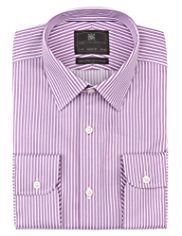 Performance Pure Cotton Textured Bold Striped Shirt