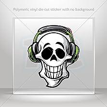 buy Stickers Decal Skull Dj Wih Headphones Hobbies Motorbike Vehicle Tablet Lapto (10 X 8.29 In)