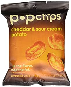 Popchips, Cheddar and Sour Cream, 0.8-Ounce Single Serve Bags (Pack of  24)