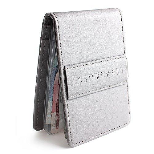 DistressedPorta-carte di credito con fermasoldi in acciaio inox, 10scomparti trasparenti Grigio Grigio 11cm x 7cm